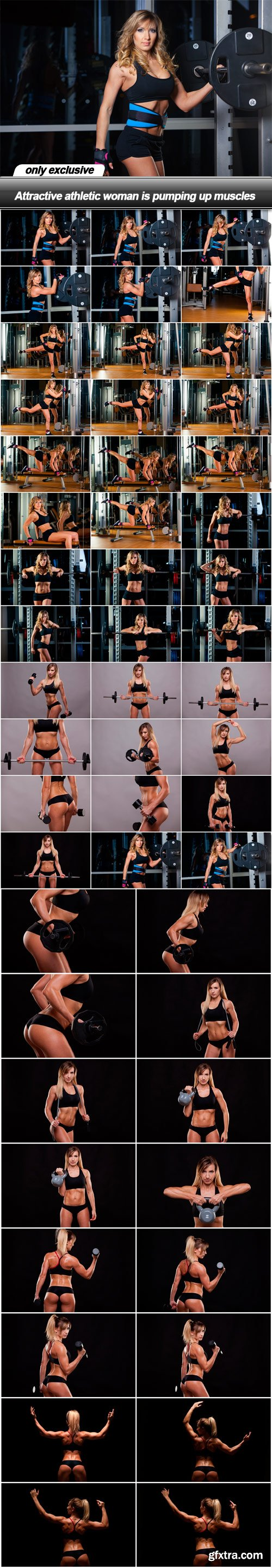 Attractive athletic woman is pumping up muscles - 50 UHQ JPEG