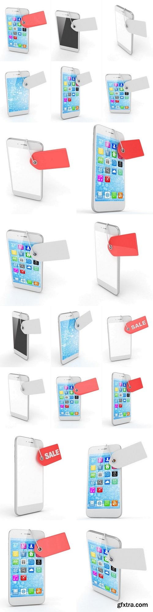 White smart phone with red price tag on white background. Identification, price, label. 3D rendering