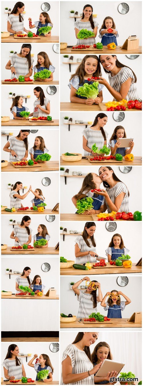 Cook in the kitchen mother and daughter 15X JPEG