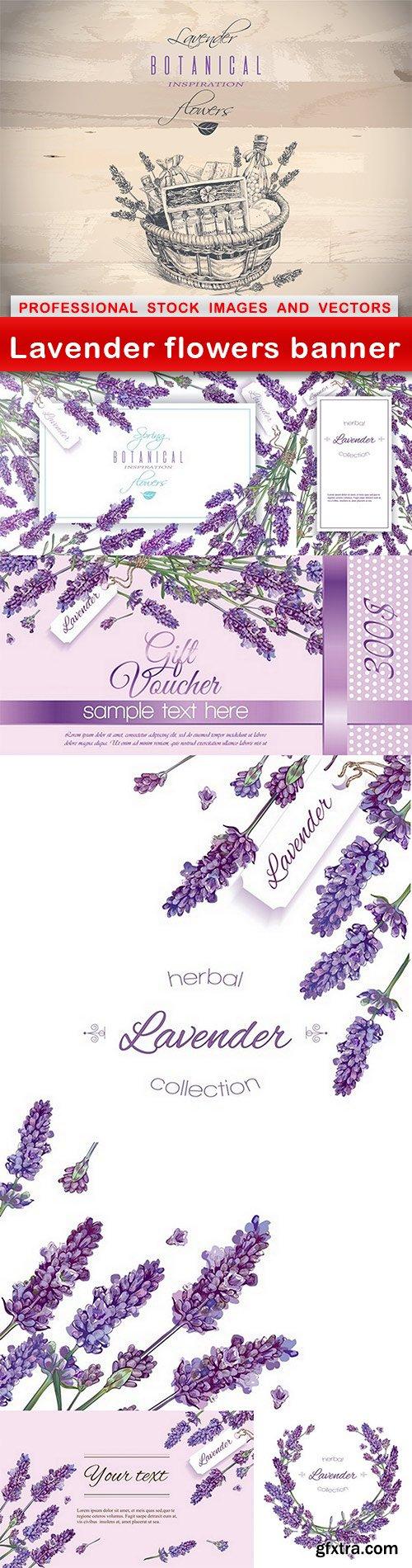 Lavender flowers banner - 7 EPS