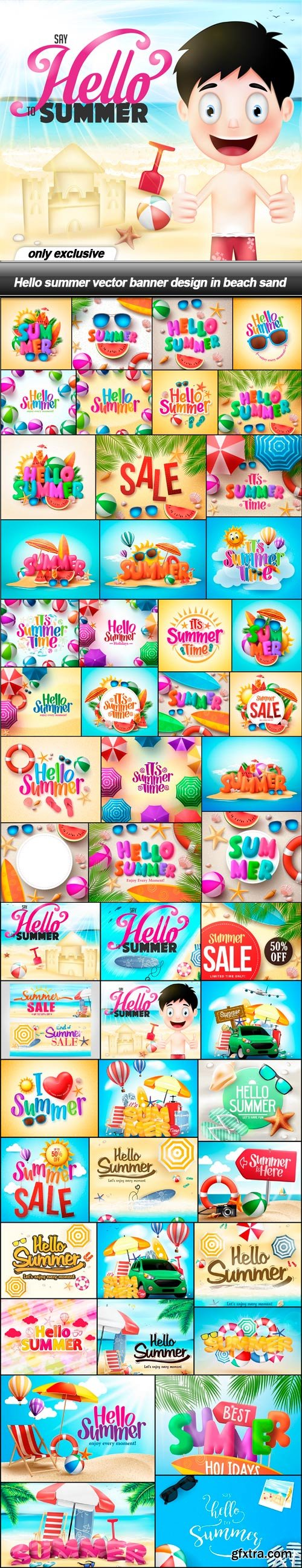 Hello summer vector banner design in beach sand - 50 EPS