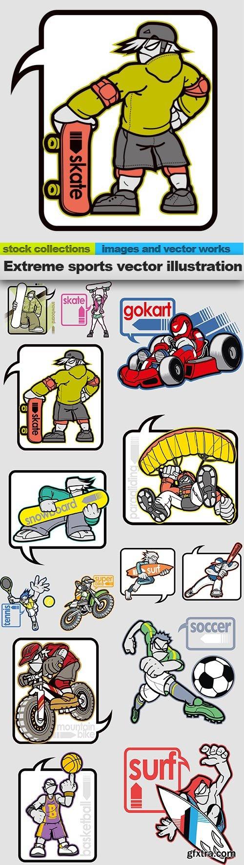 Extreme sports vector illustration, 14 x EPS