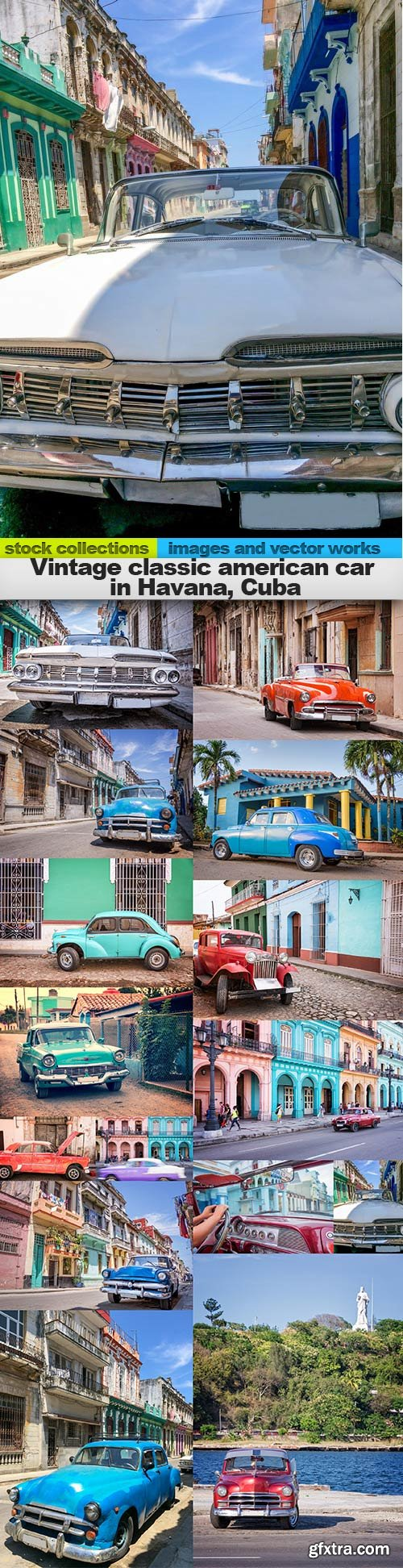 Vintage classic american car in Havana, Cuba, 15 x UHQ JPEG