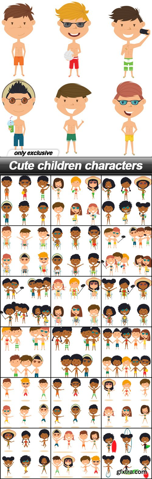 Cute children characters - 19 EPS