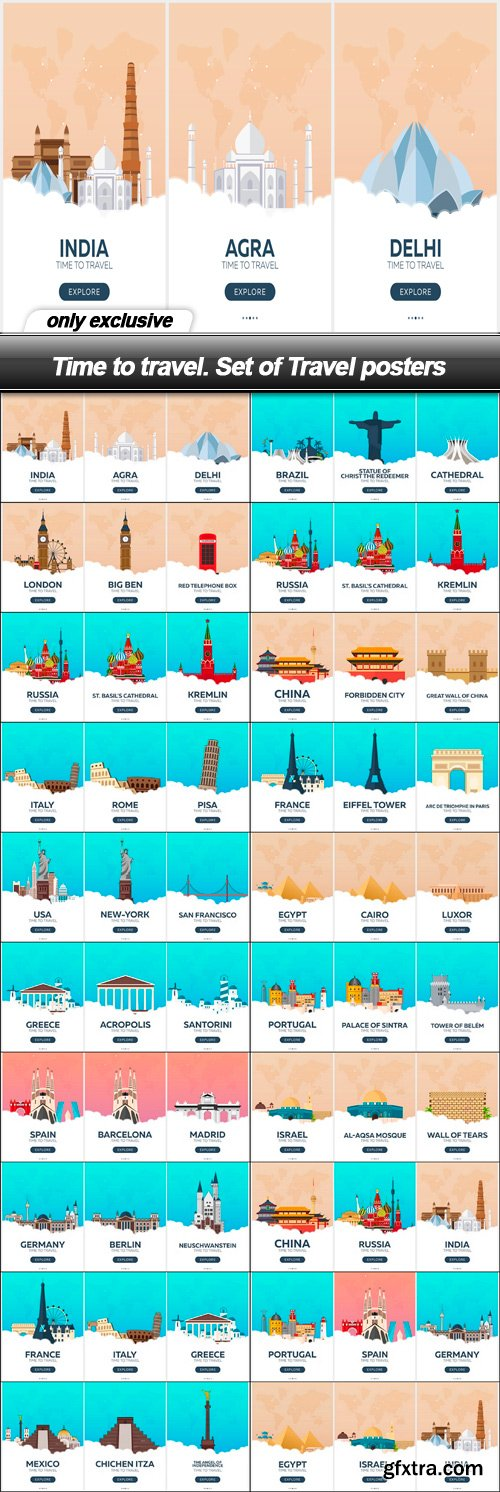 Time to travel. Set of Travel posters - 20 EPS