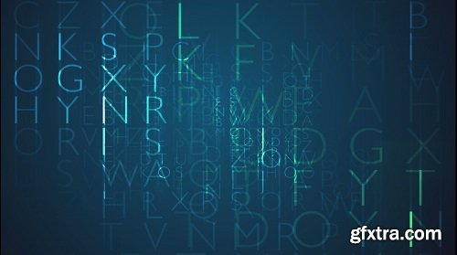 Random blue letters in cryptic pattern