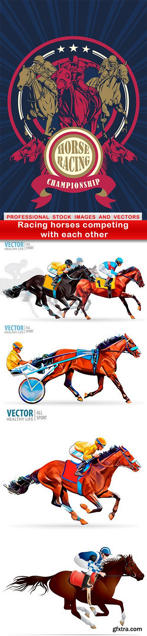Racing horses competing with each other - 5 EPS
