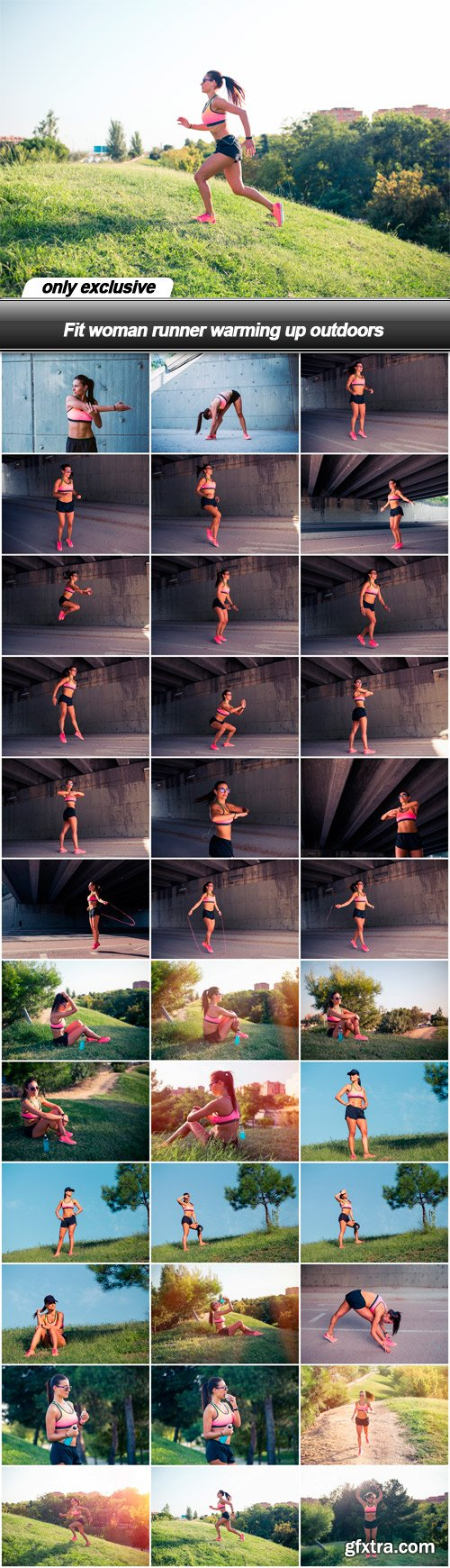 Fit woman runner warming up outdoors - 36 UHQ JPEG