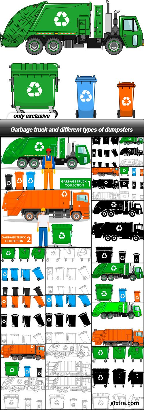 Garbage truck and different types of dumpsters - 18 EPS