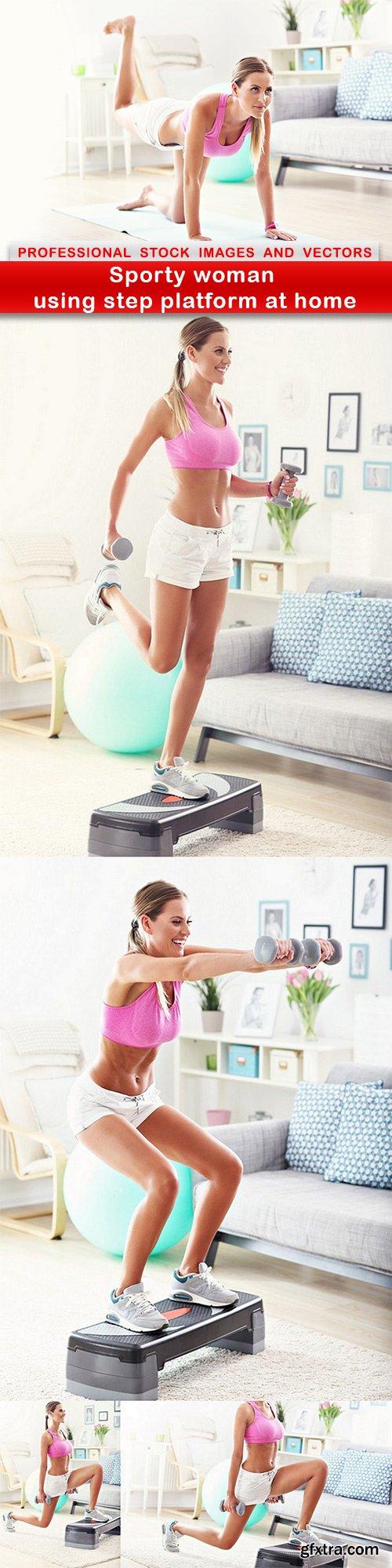 Sporty woman using step platform at home - 5 UHQ JPEG