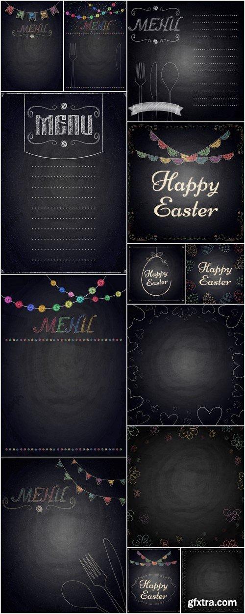 Menu of restaurant on black chalkboard background 13X EPS
