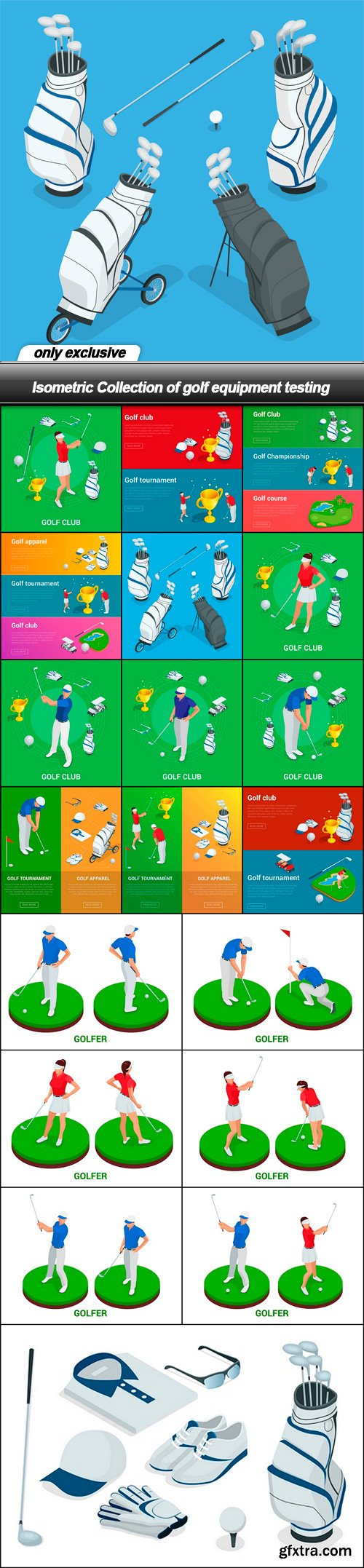 Isometric Collection of golf equipment testing - 19 EPS