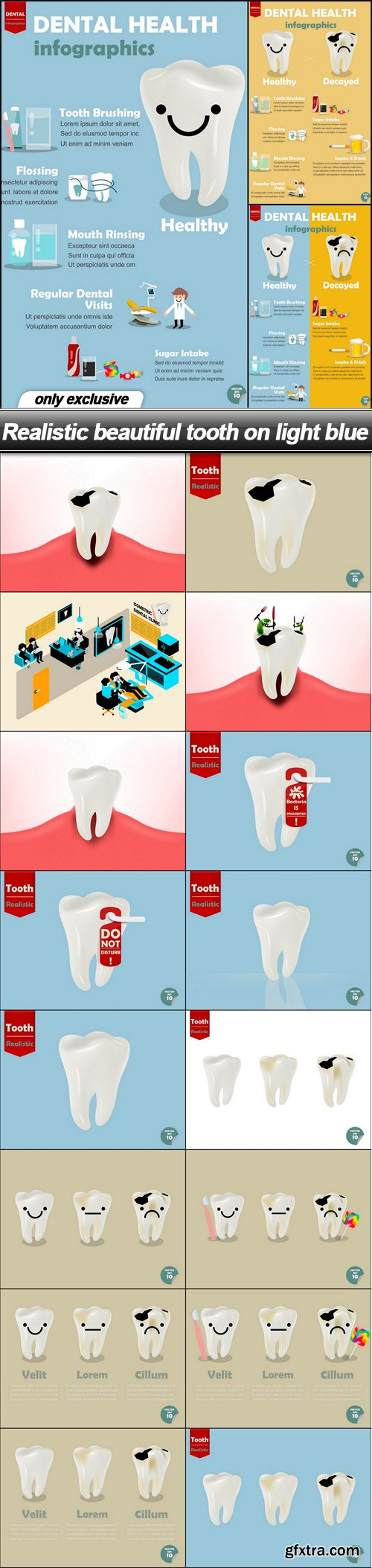Realistic beautiful tooth on light blue - 19 EPS