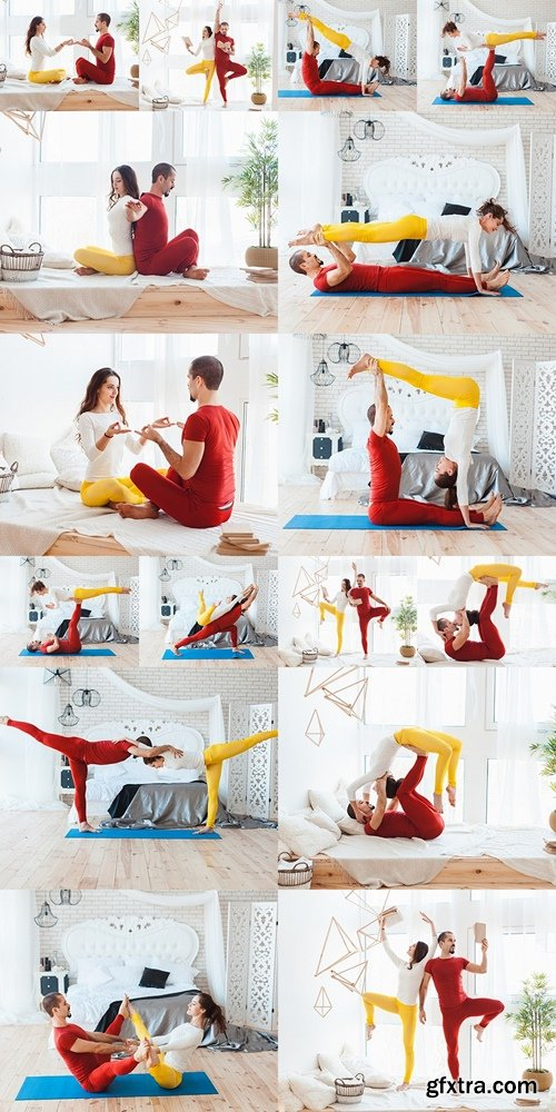 Man and woman practicing yoga, they trained at home 2