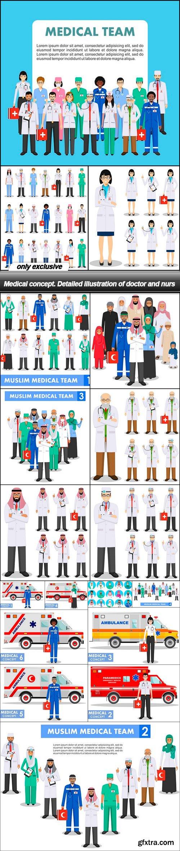 Medical concept. Detailed illustration of doctor and nurs - 18 EPS