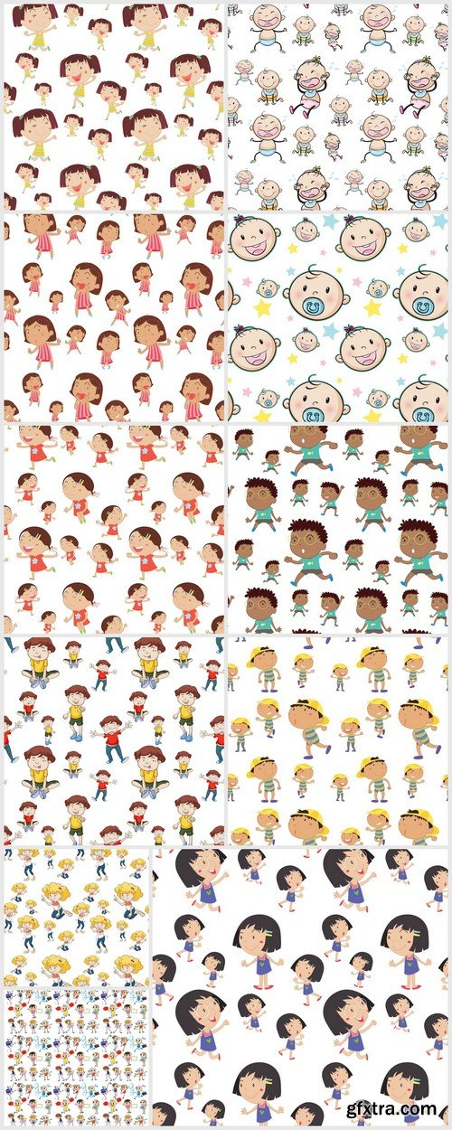 Seamless background with children 11X EPS