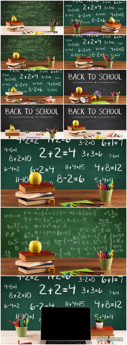 School blackboard with pile of books 11X JPEG