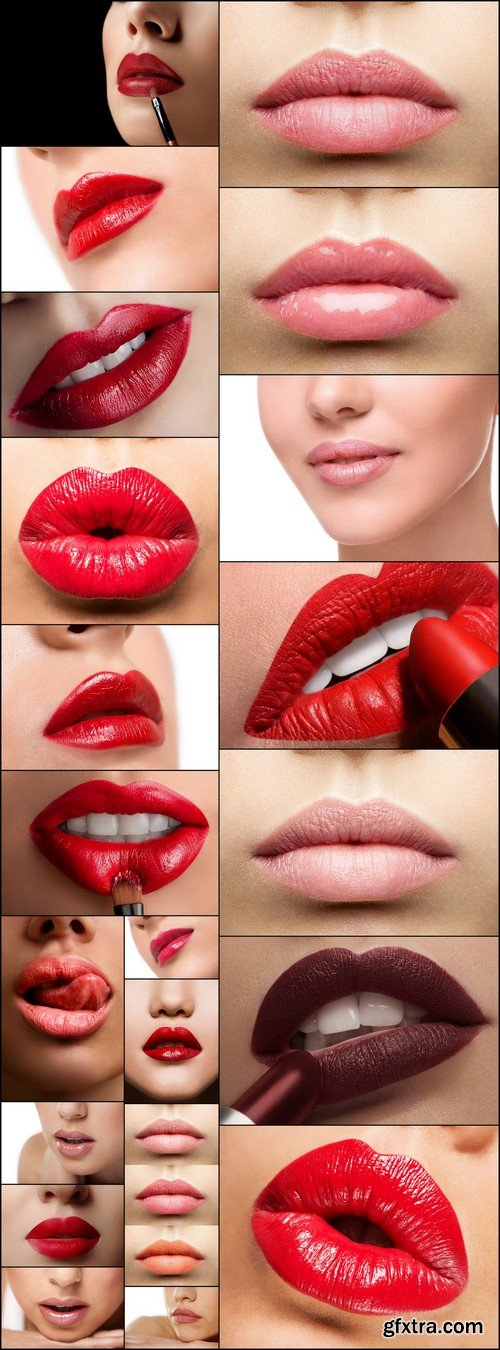 Woman's lips with red lipstick and kiss gesture 21X JPEG