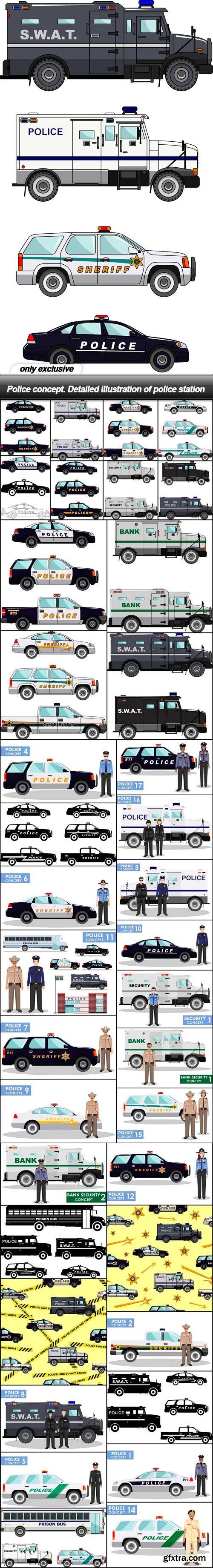 Police concept. Detailed illustration of police station - 38 EPS