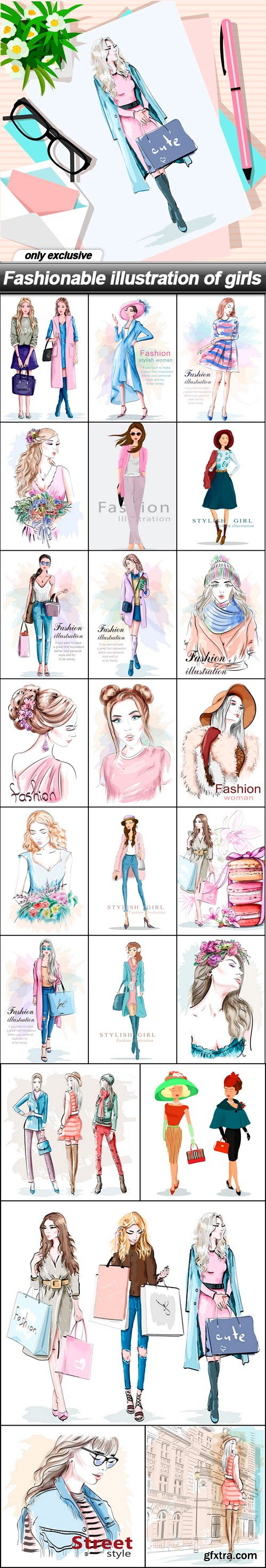 Fashionable illustration of girls - 24 EPS