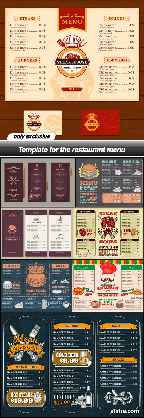 Template for the restaurant menu - 8 EPS