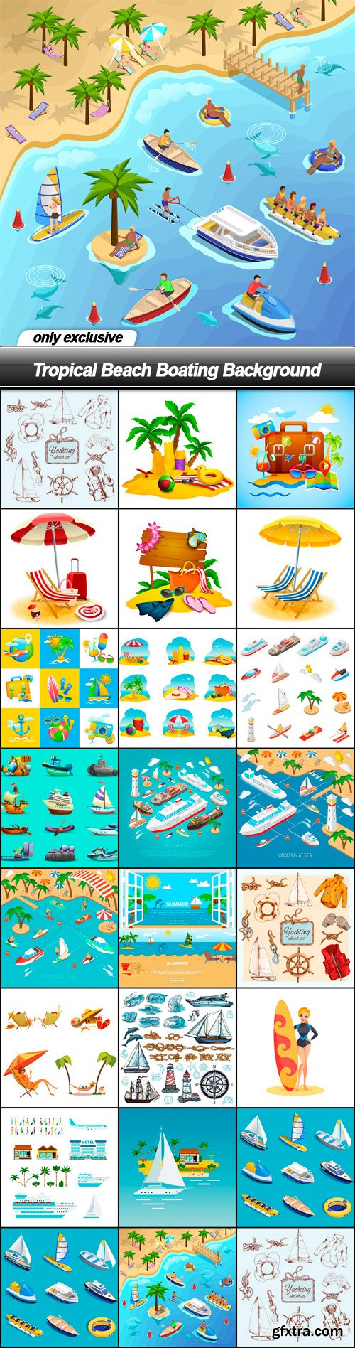Tropical Beach Boating Background - 23 EPS