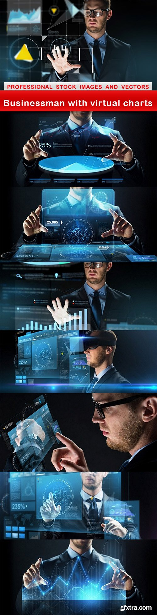 Businessman with virtual charts - 8 UHQ JPEG