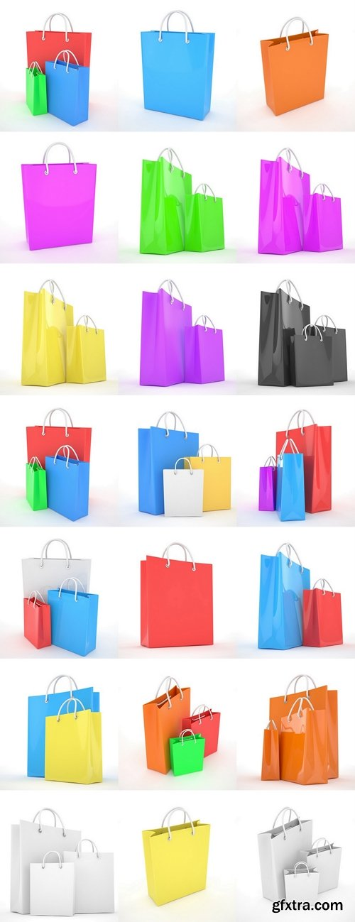 Paper Shopping Bags isolated on white background. 3d rendering 2
