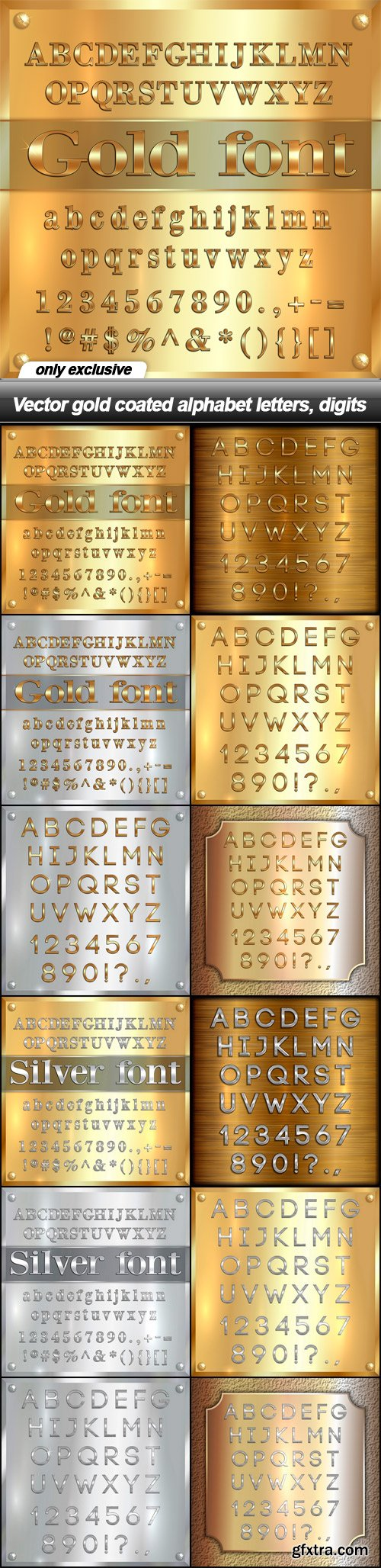 Vector gold coated alphabet letters, digits - 12 EPS