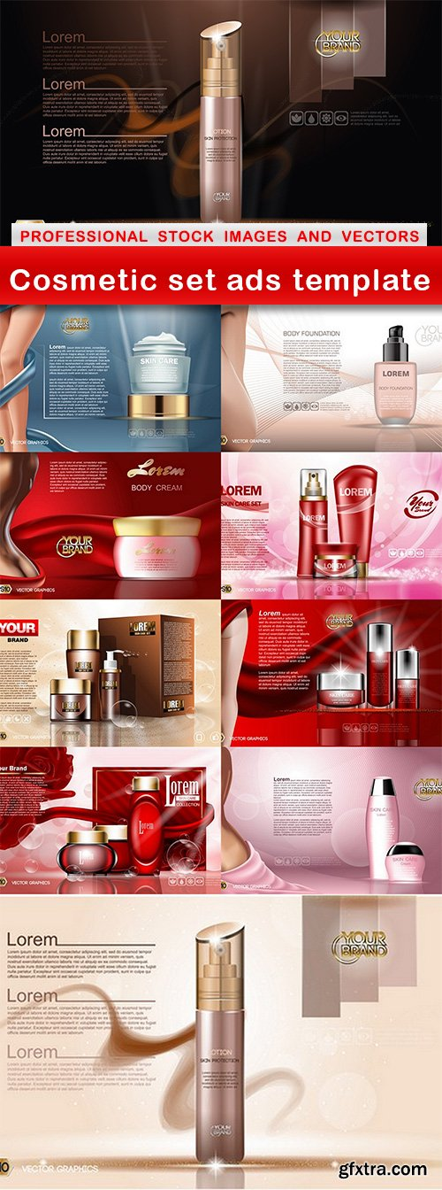 Cosmetic set ads template - 10 EPS