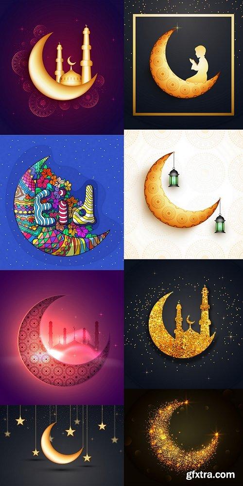 Ramadan background with glittering moon Premium Vector