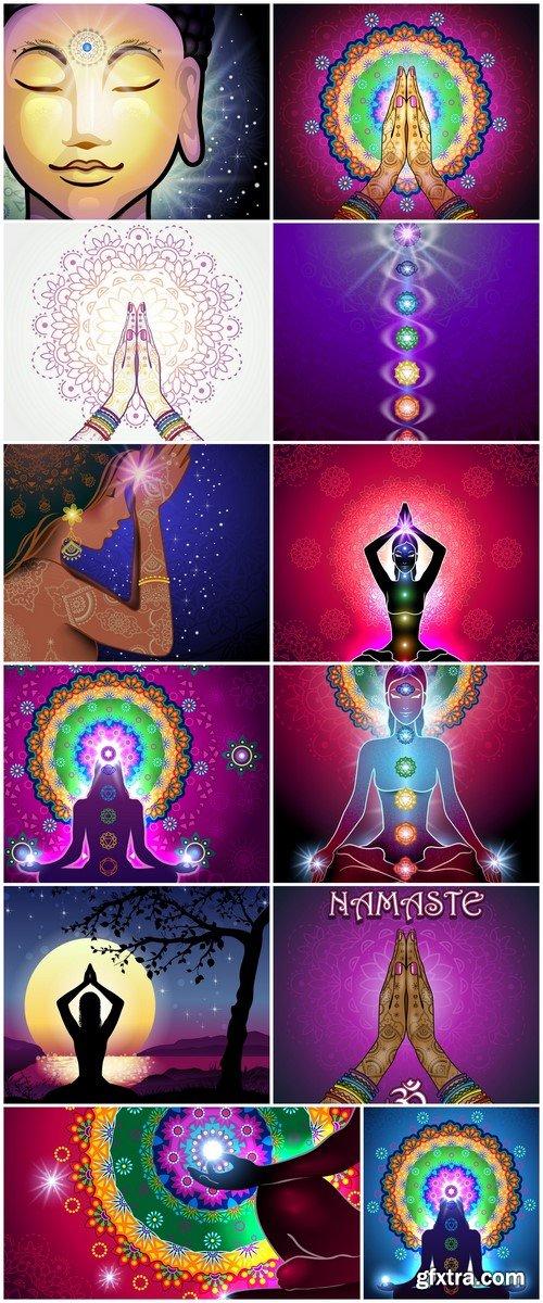 Chakra Meditation Mandala 12X EPS