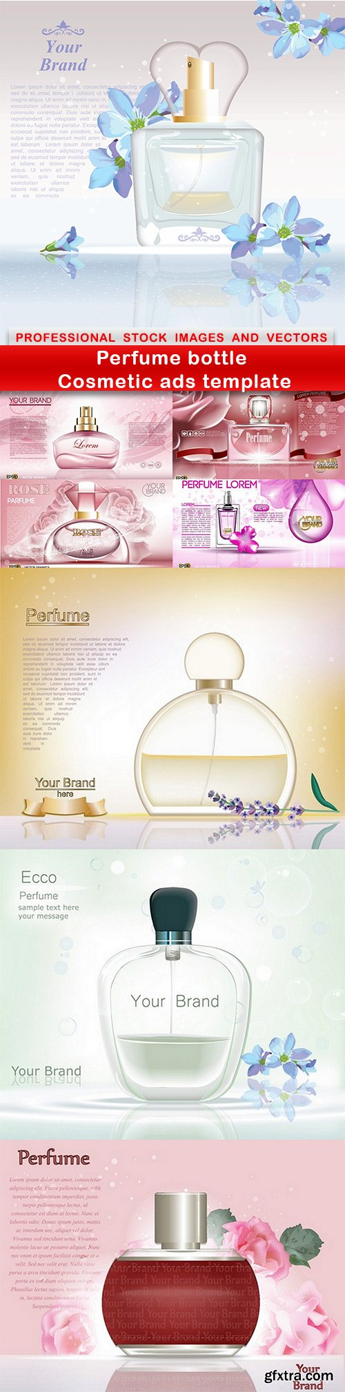 Perfume bottle Cosmetic ads template - 8 EPS