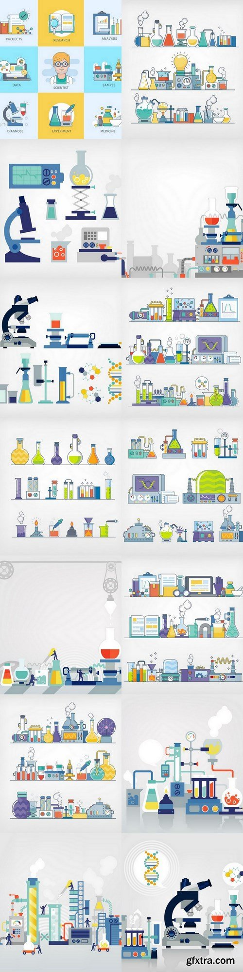 Scientisticons - 14 EPS Vector Stock