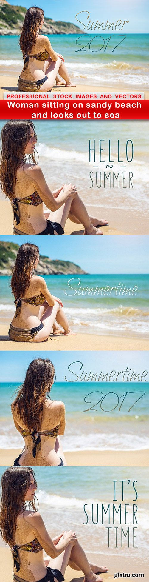 Woman sitting on sandy beach and looks out to sea - 5 UHQ JPEG