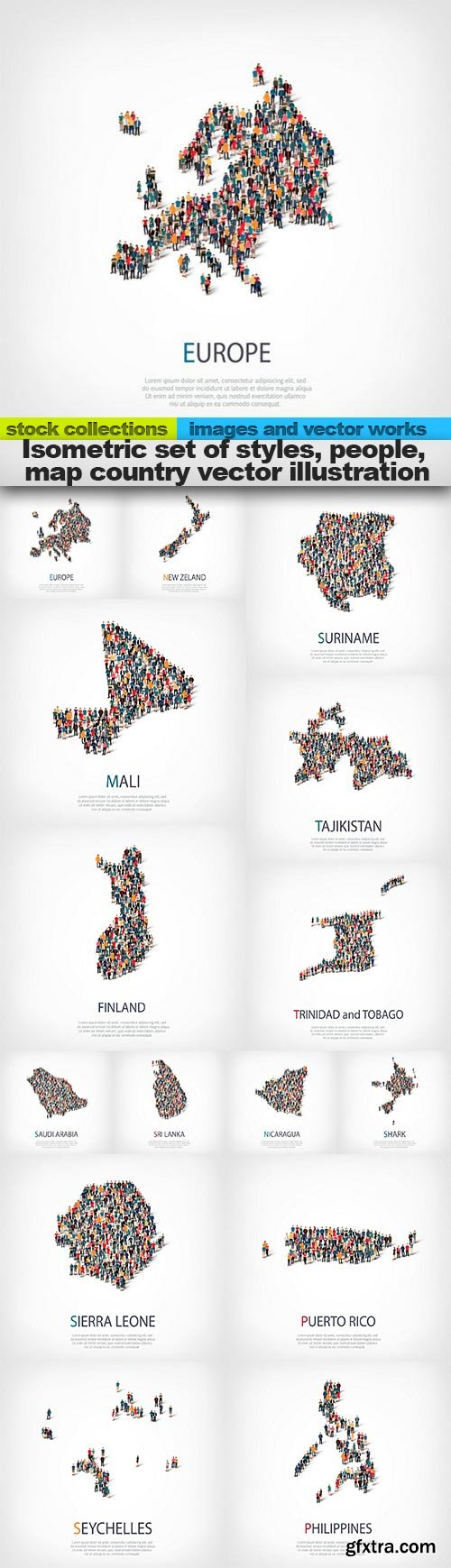 Isometric set of styles, people, map country vector illustration, 15 x EPS