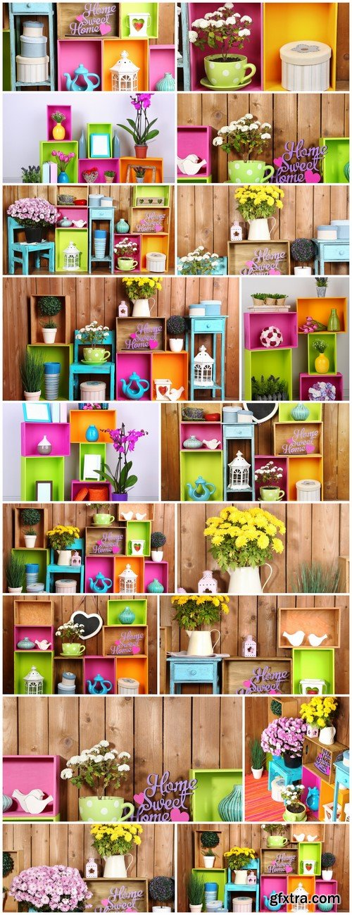 Beautiful colorful shelves on wooden wall background 18X JPEG