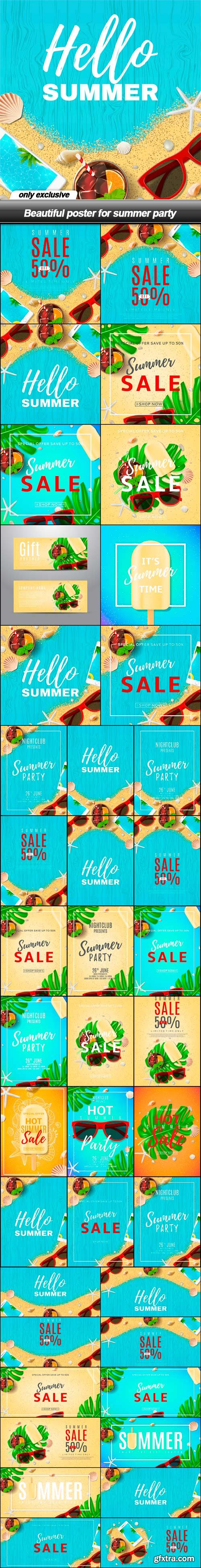 Beautiful poster for summer party - 40 EPS