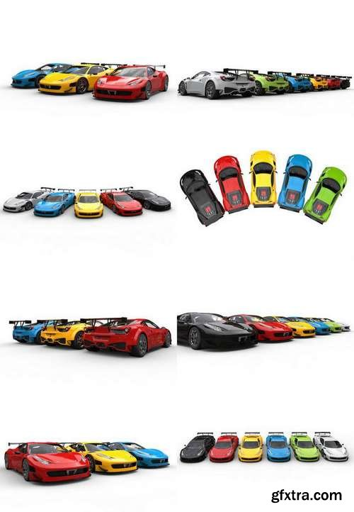 Row of Colorful Super Cars