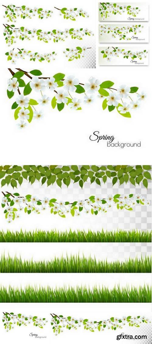 Set of Nature Backgrounds with Spring Blossom of Cherry