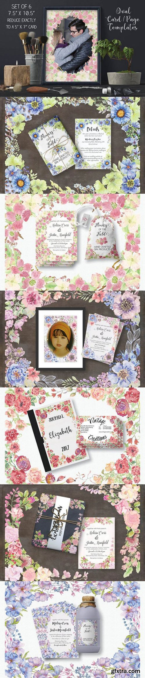 CM - Set of 6 oval card templates 1343387