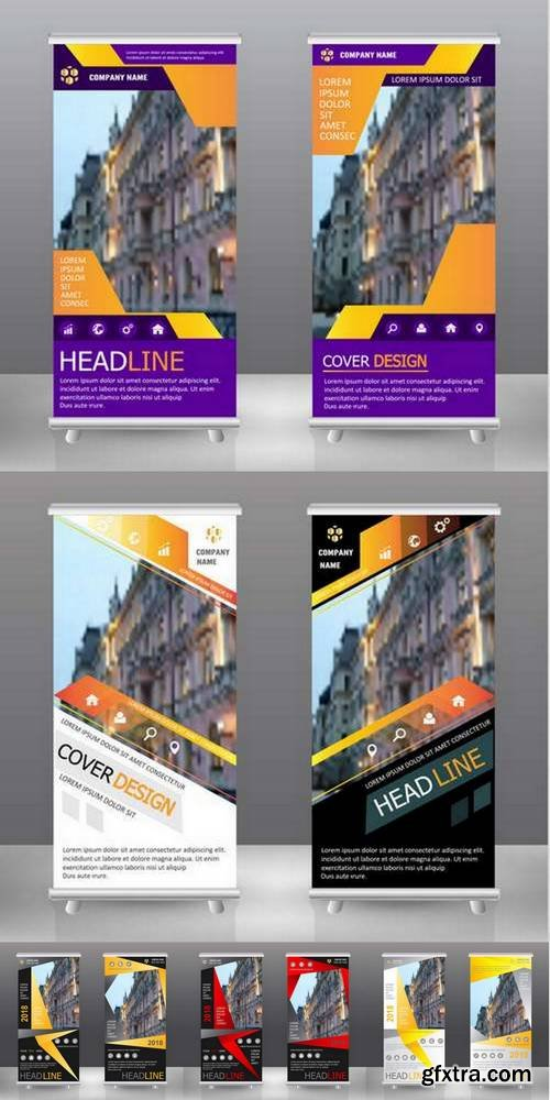 Roll Up Business Banner Design Vertical Template