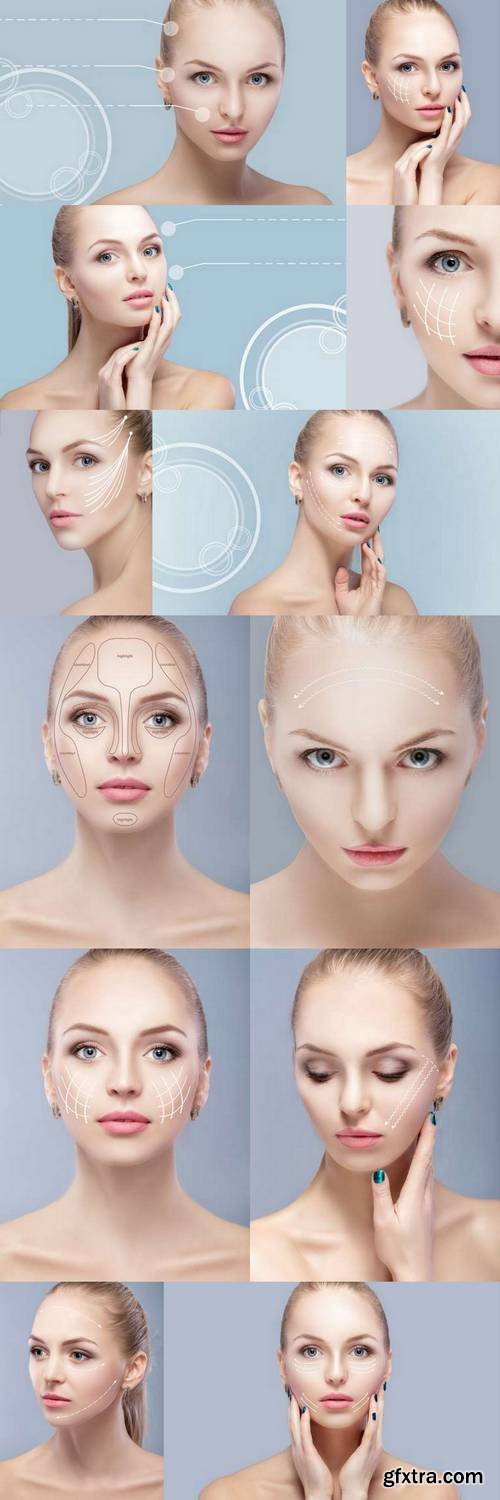 Spa Portrait of Attractive Woman with Arrows on Face - Face Lifting Concept