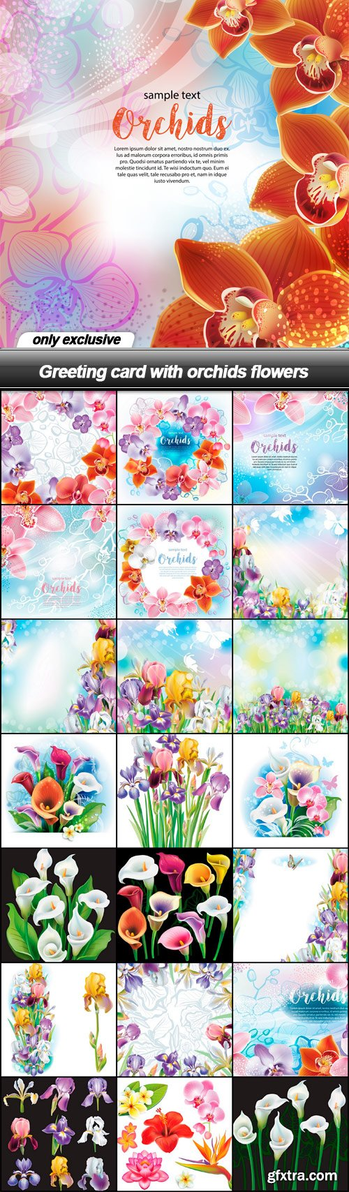 Greeting card with orchids flowers - 22 EPS