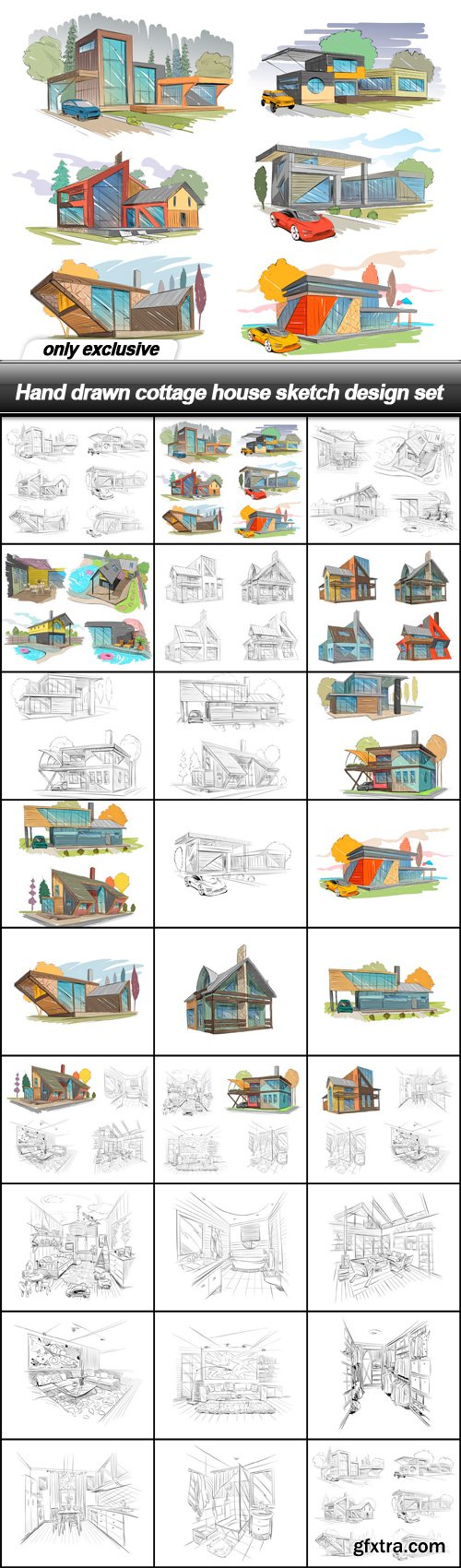 Hand drawn cottage house sketch design set - 26 EPS