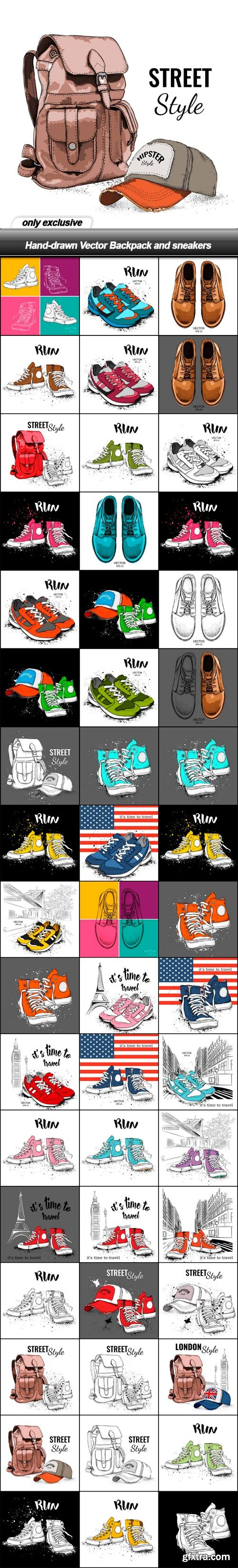 Hand-drawn Vector Backpack and sneakers - 51 EPS