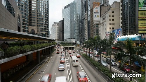Vehicles moving along the queensway in central hong kong china t lapse