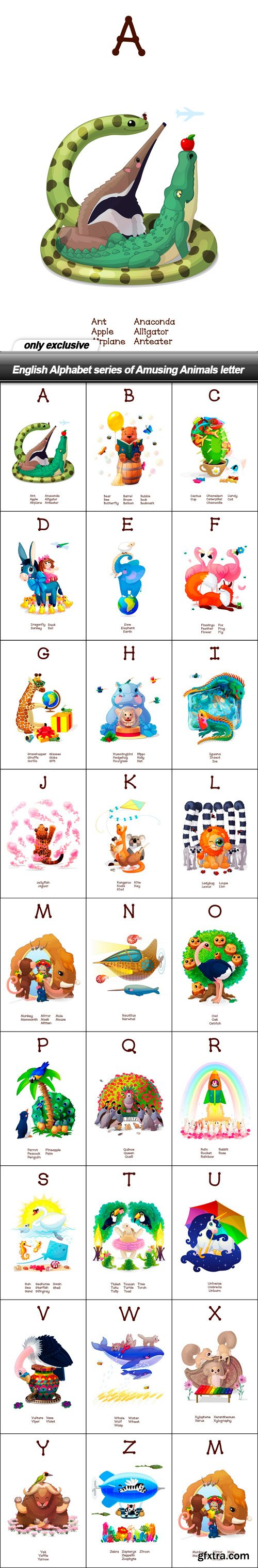 English Alphabet series of Amusing Animals letter - 26 EPS