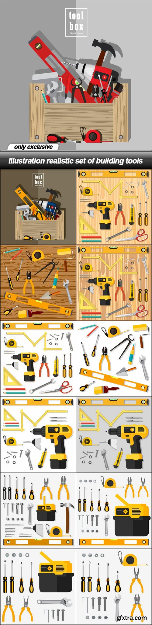 Illustration realistic set of building tools - 13 EPS