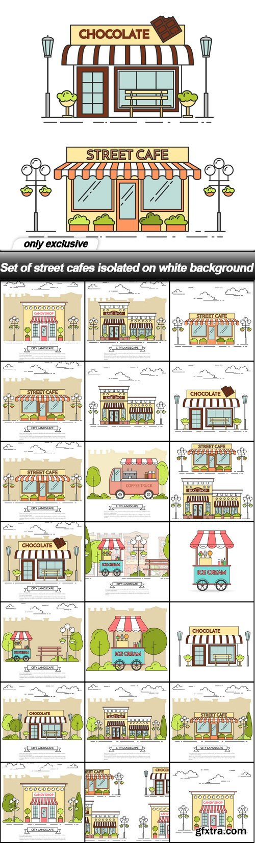 Set of street cafes isolated on white background - 22 EPS